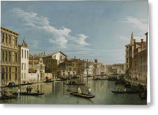 Antonio Paintings Greeting Cards - Grand Canal from Palazzo Flangini to Palazzo Bembo Greeting Card by Canaletto