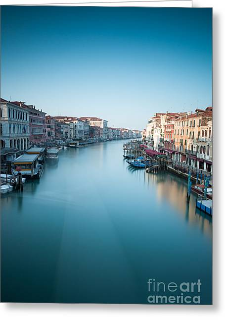 Vaporetto Greeting Cards - Grand canal in blue Greeting Card by Matteo Colombo