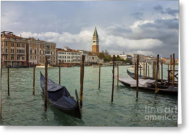 Campanile Di San Marco Greeting Cards - Grand Canal in Venice after storm Greeting Card by Kiril Stanchev