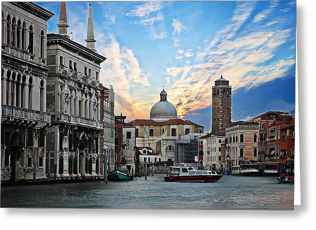 Water Vessels Greeting Cards - Grand Canal in Venice Greeting Card by Anthony Dezenzio
