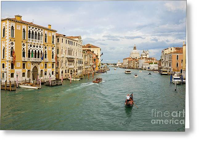 Gondolier Greeting Cards - Grand Canal in Venice Italy Greeting Card by Kiril Stanchev
