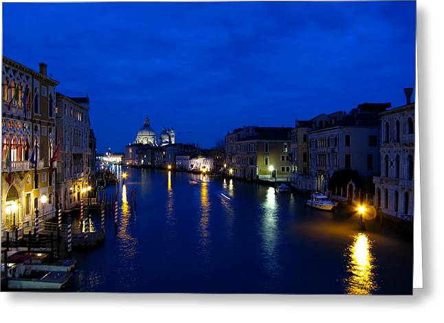 City Lights Greeting Cards - Grand canal of Venice by night Greeting Card by Luca Marchi