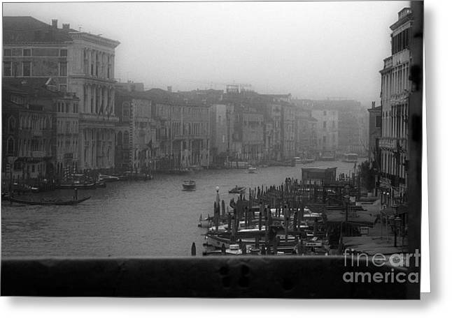 Exterior Wall Greeting Cards - Grand Canal on a Foggy Morning Greeting Card by Prints of Italy