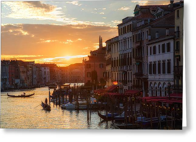 Italian Landscapes Pyrography Greeting Cards - Grand Canal Venice Italy Greeting Card by Timothy Denehy
