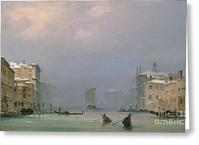 Freezing Greeting Cards - Grand Canal with Snow and Ice Greeting Card by Ippolito Caffi