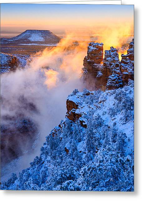 Temperature Inversion Greeting Cards - Grand Canyon - Winters Fire Greeting Card by Adam Schallau