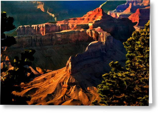 Yaki Greeting Cards - Grand Canyon at Sunset Greeting Card by  Bob and Nadine Johnston