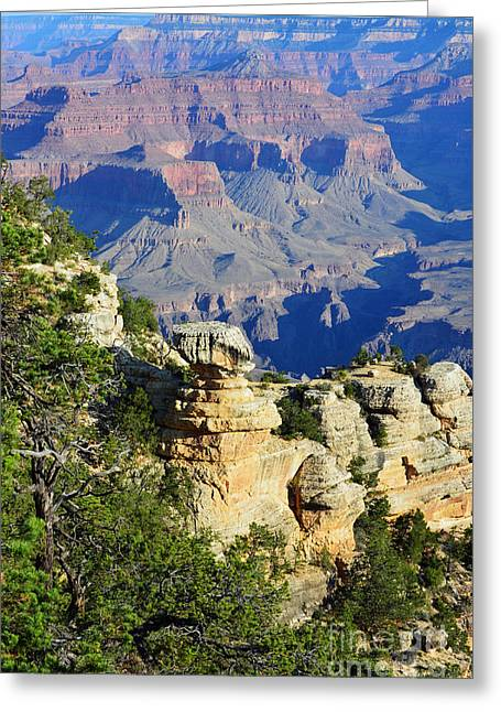 Grand Canyon Greeting Cards - Grand Canyon Cap Rock Formation Vertical Greeting Card by Shawn O