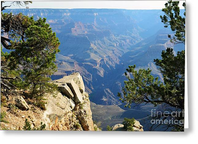 Grand Canyon Photographs Greeting Cards - Grand Canyon Cliff Pointing the Way to the North Rim Greeting Card by Shawn O