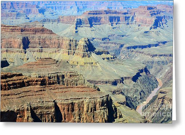 Grand Canyon Photographs Greeting Cards - Grand Canyon Cliffs and Colorado River Gorge Greeting Card by Shawn O