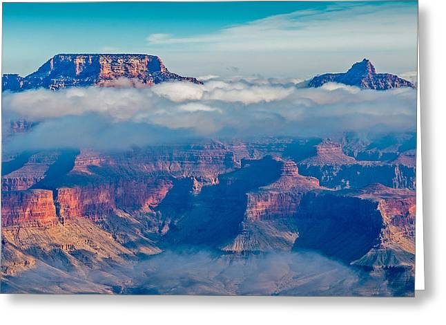 Inversion Greeting Cards - Grand Canyon Cloud Inversion Greeting Card by Steve Dunsford