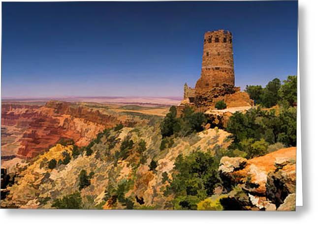 South Rim Greeting Cards - Grand Canyon Desert View Watchtower Panorama Greeting Card by Christopher Arndt