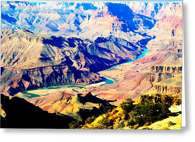 Grand Canyon Greeting Cards - Grand Canyon Eastern Sunset View Square Vivid Greeting Card by Shawn O