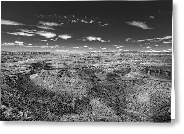 Scenario Greeting Cards - Grand Canyon from Desert View Watchtower - BW Greeting Card by Chris Bordeleau