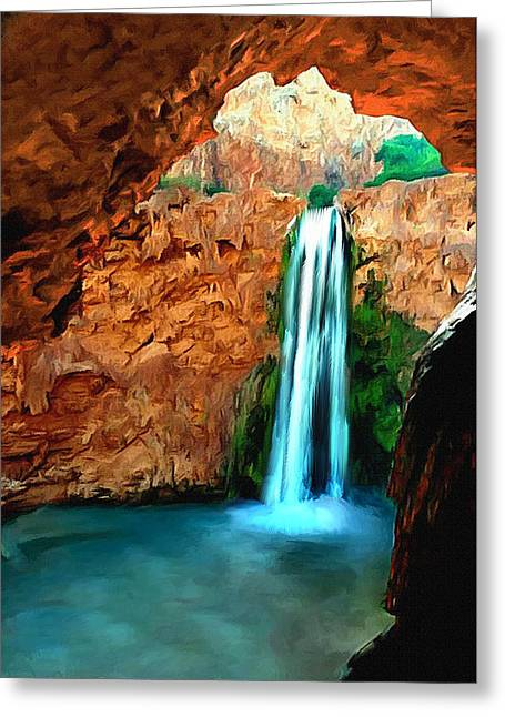 Desertview Greeting Cards - Grand Canyon Havasu Falls Greeting Card by  Bob and Nadine Johnston