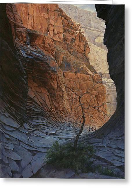 Arizona Hike Into Canyon  Greeting Card by Don  Langeneckert