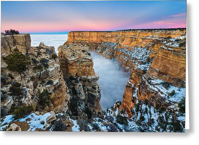 Temperature Inversion Greeting Cards - Grand Canyon in the Clouds Greeting Card by Adam  Schallau