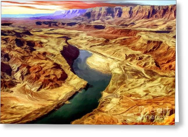 Desertview Greeting Cards - Grand Canyon Lees Ferry Painting Greeting Card by  Bob and Nadine Johnston