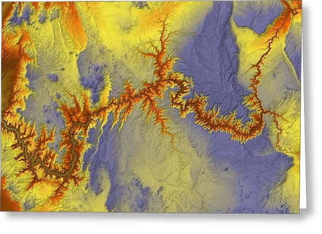 Landform Digital Greeting Cards - Grand Canyon Map Art Greeting Card by Paul Hein