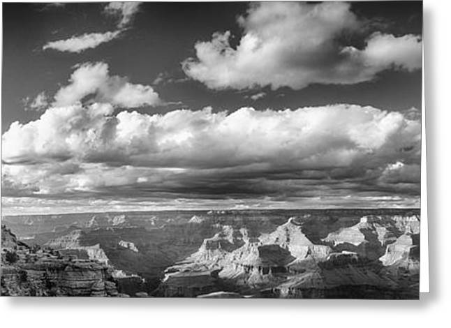 Greeting Cards - Grand Canyon Mather Point in Black  and White Greeting Card by Lisa  Spencer