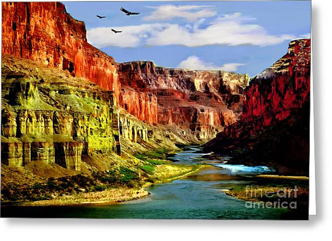 The Plateaus Digital Greeting Cards - California Condors Grand Canyon Colorado River Greeting Card by  Bob and Nadine Johnston