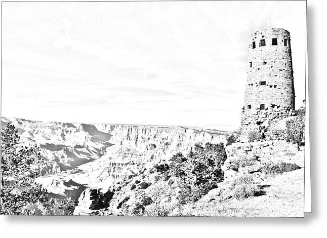 Scenic Landscape Greeting Cards - Grand Canyon National Park Mary Colter Designed Desert View Watchtower Black and White Line Art Greeting Card by Shawn O