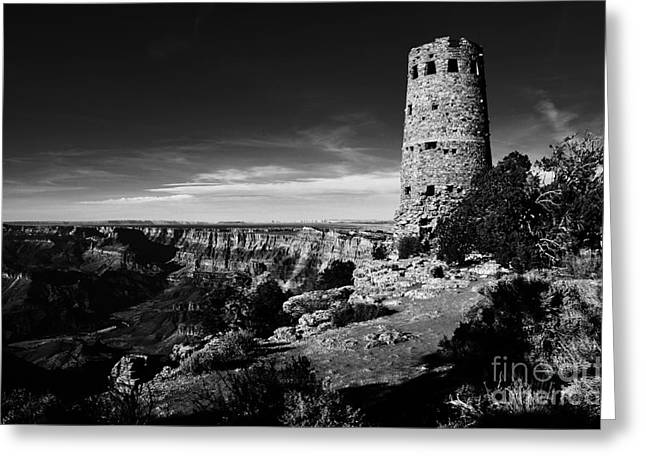 Grand Canyon Greeting Cards - Grand Canyon National Park Mary Colter Designed Desert View Watchtower Black and White Greeting Card by Shawn O