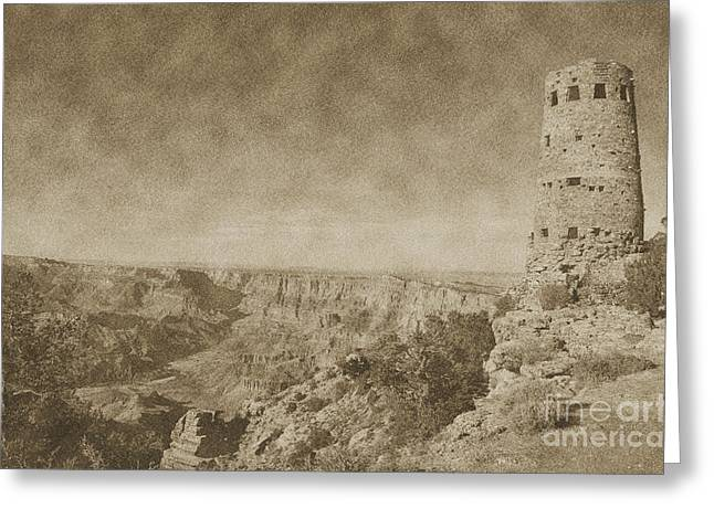 Grand Canyon National Park Mary Colter Designed Desert View Watchtower Vintage Greeting Card by Shawn O'Brien