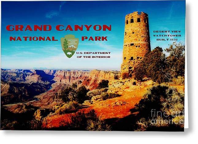 Travelpixpro Greeting Cards - Grand Canyon National Park Poster Desert View Watchtower Retro Future Greeting Card by Shawn O