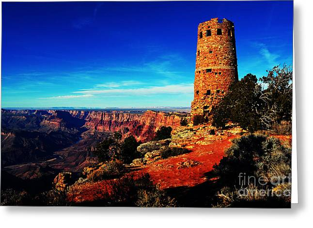 Grand Canyon National Park South Rim Mary Colter Designed Desert View Watchtower Vivid Greeting Card by Shawn O'Brien