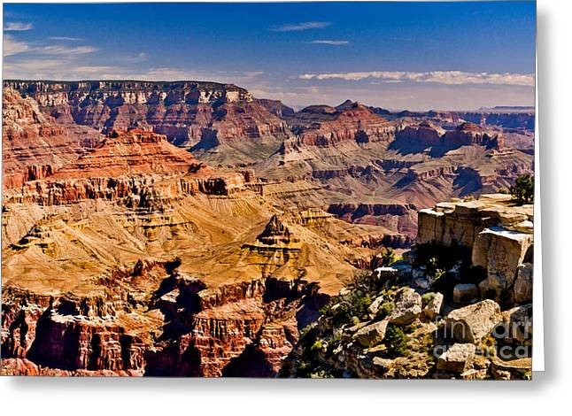 Geology Mixed Media Greeting Cards - Grand Canyon Painting Greeting Card by  Bob and Nadine Johnston