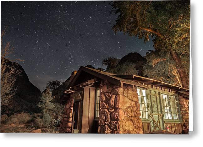 South Kaibab Trail Greeting Cards - Grand Canyon Phantom Ranch Cabin Greeting Card by Tony Fuentes