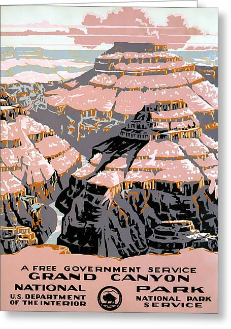 Landscape Posters Greeting Cards - GRAND CANYON POSTER, c1938 Greeting Card by Granger