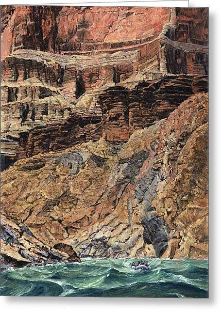 Rapids Greeting Cards - Grand Canyon Cliff and Rafts Greeting Card by Don  Langeneckert