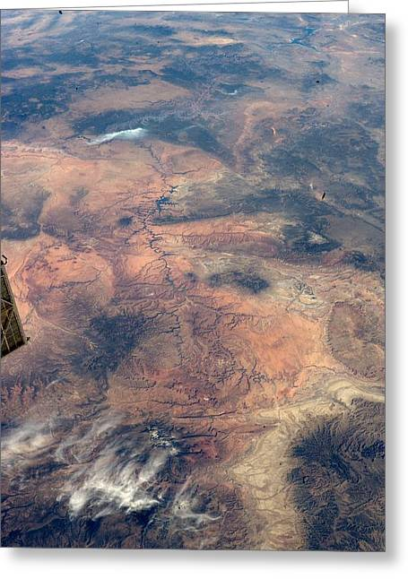 Mountain Valley Greeting Cards - Grand Canyon, USA, ISS image Greeting Card by Science Photo Library