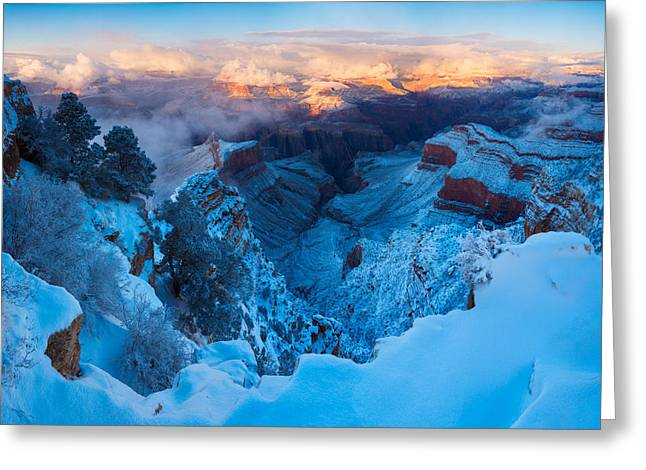 The Grand Canyon Greeting Cards - Grand Canyon Winter Sunset Greeting Card by Adam Schallau