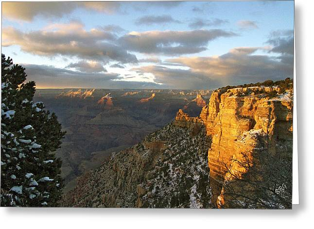 Chilling Greeting Cards - Grand Canyon. Winter Sunset Greeting Card by Ben and Raisa Gertsberg