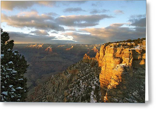 Wintry Greeting Cards - Grand Canyon. Winter Sunset Greeting Card by Ben and Raisa Gertsberg