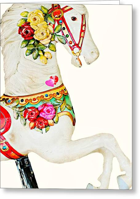 Amusement Ride Greeting Cards - Vintage Grand Carousel Horse Greeting Card by Diana Angstadt