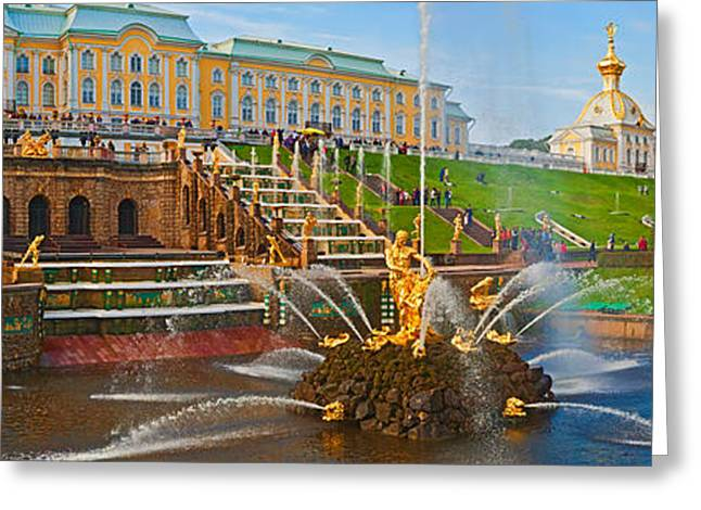 The Great Outdoors Greeting Cards - Grand Cascade Fountain In Front Greeting Card by Panoramic Images