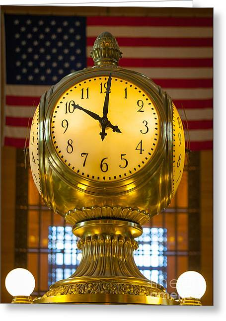 Grand Central Clock Greeting Card by Inge Johnsson