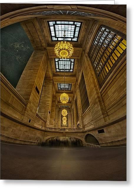 Grand Central Corridor Greeting Card by Susan Candelario