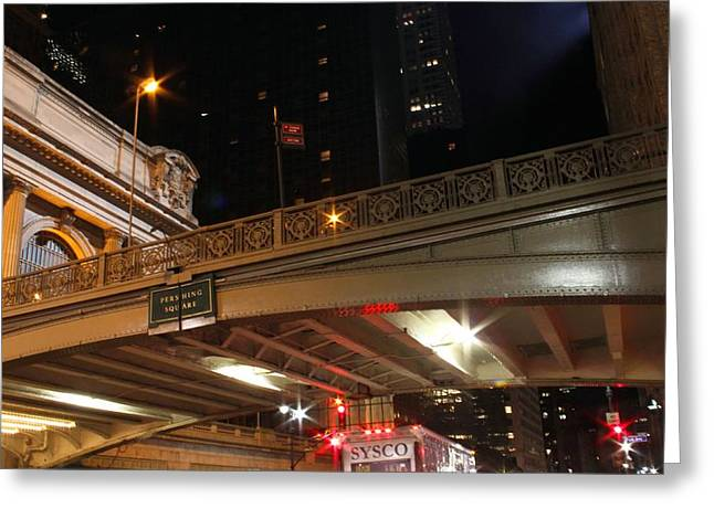 Streetlight Greeting Cards - Grand Central Station At Pershing Square Greeting Card by Dan Sproul