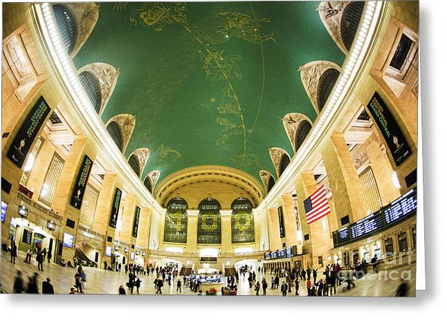 Green Artworks Greeting Cards - Grand Central Station New York City on its Centennnial  Greeting Card by Diane Diederich