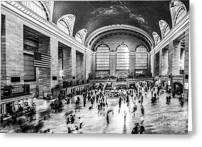 Hannes Cmarits Greeting Cards - Grand Central Station -pano bw Greeting Card by Hannes Cmarits