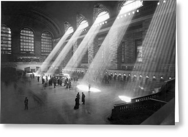 Grand Central Station Sunbeams Greeting Card by Underwood Archives