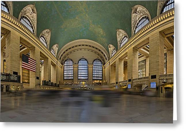 Grand Central Terminal 180 Panorama  Greeting Card by Susan Candelario