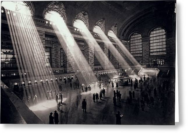 Streaming Light Greeting Cards - Grand Central Terminal 1930 Greeting Card by Daniel Hagerman