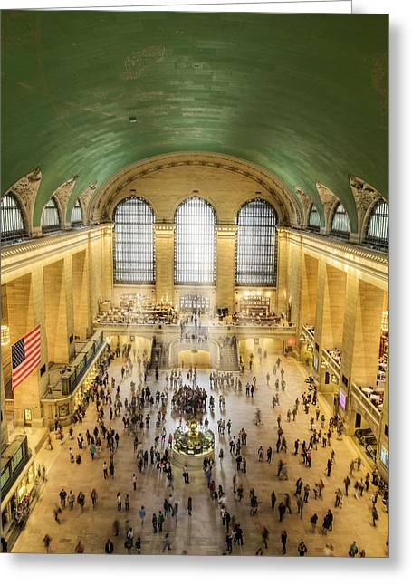 Clocks Greeting Cards - Grand Central Terminal Birds Eye View Greeting Card by Susan Candelario