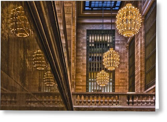 Concourse Greeting Cards - Grand Central Terminal Chandeliers Greeting Card by Susan Candelario